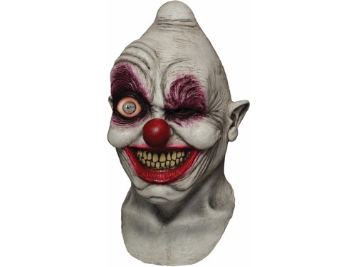 "You want to make them scream with this Crazy Eye Clown Digital Mask.  After downloading a free Digital Dudz App (unique to your mask) on your smart phone, you slide it into position in your full over the head latex mask, launch the animation and bring your mask to life.  See video below!  Mask pocket can accommodate a mobile device up to 6"" x 3.25"" (pretty much everything including the Galaxy Note II).  Apple devices must be running iOS 5 or greater.  Android must be running Android 2.2 or greater."