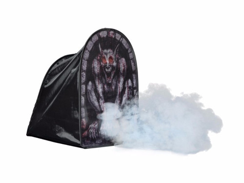 "This Tombstone Tent Gargoyle 24"" printed mesh covers your fog machine. Fog shoots out of the front for a spooky effect! It is of collapsible construction making it simple set up and easy storage. Great addition to your Halloween settings!"