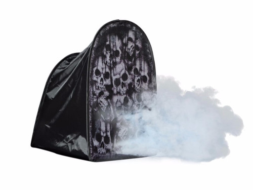 "This Folding Tombstone Tent Skulls 24"" printed mesh covers your fog machine. Fog shoots out of the front for a spooky effect! Collapsible construction makes for simple set up and easy storage. Great addition to your Halloween settings! 90% Nylon, 10% Iron"