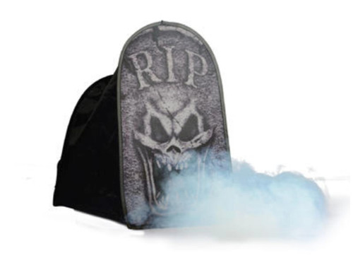 "This Folding Tombstone Tent Macabre RIP 24"" printed mesh covers your fog machine. Fog shoots out of the front for a spooky effect! Collapsible construction makes for simple set up and easy storage. Great addition to your Halloween settings! 90% Nylon, 10% Iron"