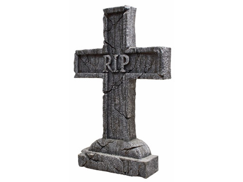 """The Rest In Peace Cross Tombstone looks like the real thing! Lightweight polystyrene tombstone has a realistic weathered-stone look, includes 2 plastic ground stakes. Perfect for any haunted house, graveyard or tomb! Tombstone has """"RIP"""" in the middle that looks to be chiseled into tombstone. 24in tall x 16in wide x 3in deep."""