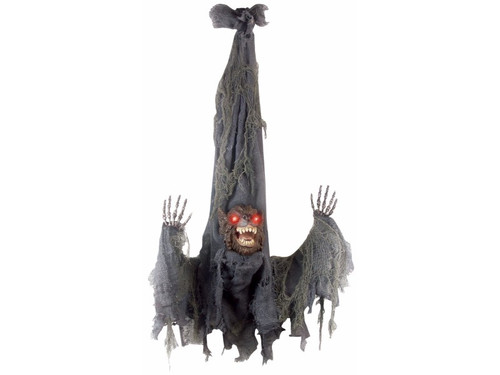 "This Animated Slashing Werewolf is ready to scare the scream out of everyone!  This hanging werewolf prop comes with lightup eyes and slashing hands. Requires 3 AA batteries not included. Sound activated. L36"" x W31"" x 9"""