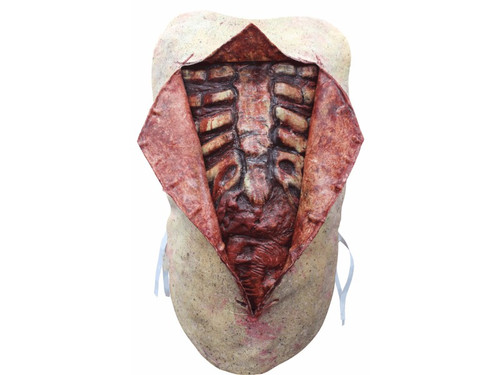 This Autopsy Chest Piece will catch the attention of everyone you cross!  Use this as a prop or costume price.  This gruesome vest that includes three pieces. Open it up to reveal the disgusting human innards. Latex. One size fits most.