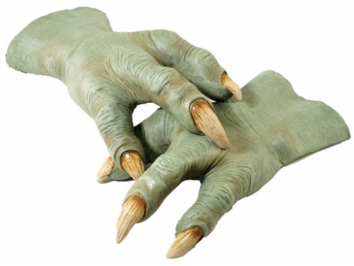 These Yoda Alien Hands are a perfect addition to your alien or Star Wars costume.  Latex hands that compliment the Yoda Mask. One size fits most adults.