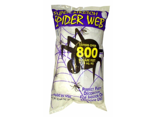 Majorly stretch over a given area for a creepy, haunted look with this Super Stretch Spider Web. Poly bagged. 8.4 oz, can stretch over 800 square feet. This is a decoration only, not a toy.