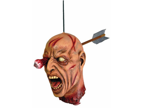 This Zombie Severed Arrow Head is gruesomely a horror to look at!  Cut-off latex head with back of arrow protuding from back of head and one eye ball and socket extended from front with point of arrow visible. Startling!!
