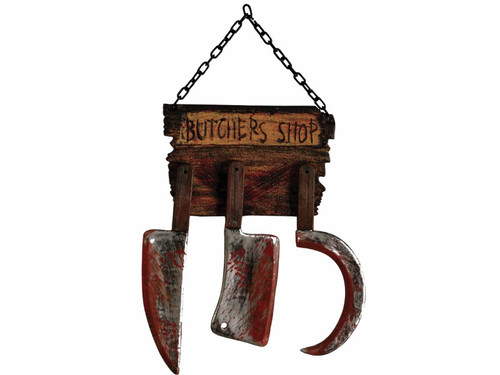 "This Butcher Shop Sign will be sure to take the breath away from anyone who sees it! This is made of durable plastic but looks very realistic! The black metal looking chain is attached to the Butcher Shop sign, which appears to be carved of wood, and attached are 3 metal looking, bloodied butcher tools. From hanging chain to end of butcher knife measures approximately 31"" long and approximately 17"" wide."