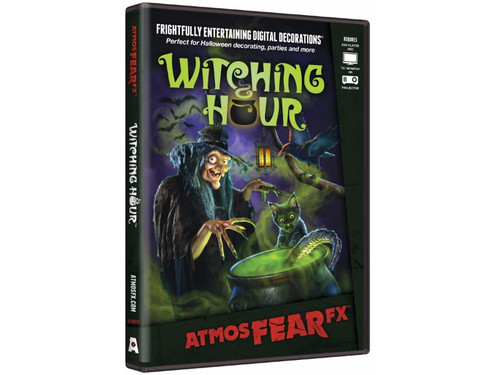 Are you ready to take an incredible visit deep into a witch's lair, where bats, black cats, and ravens toil through the night! At the center of Witching Hour is a cloaked enchantress brewing magic spells and conjuring whimsical spirits. This digital decoration features three magical vignettes and three original Halloween songs that will entertain the entire family. Displayable on a TV/monitor, wall or window, this DVD features multiple display modes and a soundtrack with spooky music. Multiple effects can be played as loop or triggered manually. Requires DVD player, a TV/monitor and projector.