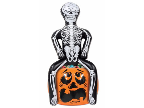 Grab a bone-chilling beverage from our Inflatable Skeleton Party Pooper Cooler! Holds about 48 12 oz. cans! Made of PVC, packaged in a poly bag with an insert card. Needs to be inflated. 25 inches wide X 3 foot 11 inches tall. Just the accessory you need for your next Halloween party!
