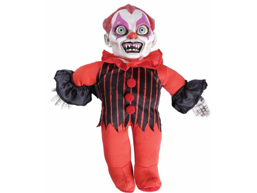 "This Haunted Clown Doll Animated Prop with sound has a cloth stuffed body with hard vinyl head and hands. Push button activates the creepy sounds and speech that give this doll a very strange persona! 10 inches tall. ""Every day is a parade, every night is a blood bath"", ""I love making babies cry"", and ""Cuddle up closer I won't bite."" Requires 2 AA batteries. Battery replacement and operation instructions included."