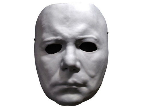 The Official Halloween II Vacuform Michael Myers Mask! This mask is a beautiful replica of the mask worn by one of the most famous movie serial killers of all time, in Universal's Halloween II, a spine-tingling dark ride into the scariest night of the year. The mask is made from Vacuform, which is a hallow plastic connected with an elastic band, a true throwback to Halloween Masks of the 1960's. The Official Halloween II Vacuform mask was sculpted by our Art Director, Justin Mabry, and was based on numerous screen shots from Halloween II to make it the most realistic mask released.