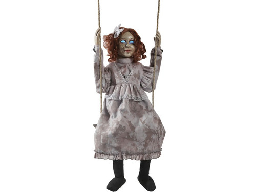 Swinging Decrepit Doll! Add some creepy decor to your Halloween with this creepy prop featuring an infra-red sensor, hollowed out eyes that glow an other-worldly blue, and speaks haunting phrases to all passersby as her head turns side-to-side while she swings back and forth on her swing. Your haunted house will never be the same with the Swinging Decrepit Doll! Choose from Steady-On or Infra-Red Sensor activation options to operate. UL 110v power cord included. Infra-red sensor works up to 6.5' feet away & works in all lighting conditions - bright light to no light! Item includes volume control. Assembly required. Materials: Polyester, PVC, sponge, plastic, hemp rope, electronics. Hang from any pipe! Doll is 30 inches tall. Including swing mechanism, rope, and doll, total length is 65 inches.