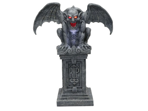 This Animated Haunted Gargoyle Statue is the perfect gothic addition to help turn your home into a cemetery, castle or crypt! Highly detailed sculpture is over 40in tall and is made of strong resin material for long-lasting durability and is able to withstand inclement weather. Choose from Steady-On or Motion and Sound Sensor activation options to operate. Also includes timer (6 hours ON/18 hours OFF). Once activated, a bright LED light will shine onto the chest and the hollowed-out eyes and mouth of the Animated Haunted Gargoyle Statue will begin to glow with an unearthly light as we hear the sounds of a tolling requiem bell and rolling thunder. Attach the optional Fog Hose (included) to your Fog Machine (not included) to add fog coming out of the mouth of the Gargoyle to complete the creepy effect. Requires 4 AA batteries (not included). Assembly required. Approximately 30 inch wingspan.