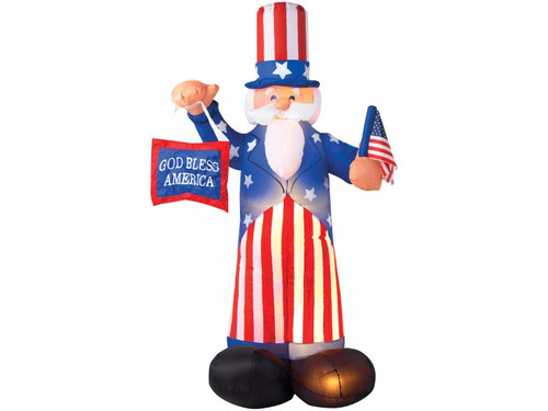 Airblown Uncle Sam Inflatable Yard Decor. UL listed. Self-Inflates in Seconds. Lights up. Stakes and tethers included. 72x36x30.