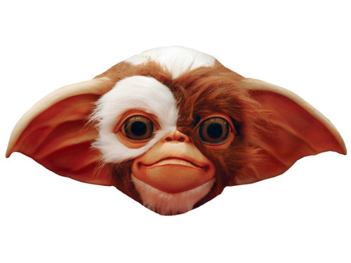 From the classic movie Gremlins comes this excellently detailed mask of the character of Gizmo. 100% latex. Individually hand painted for the best possible look. Full, over-the-head mask. Hair attached. One size fits most adults.