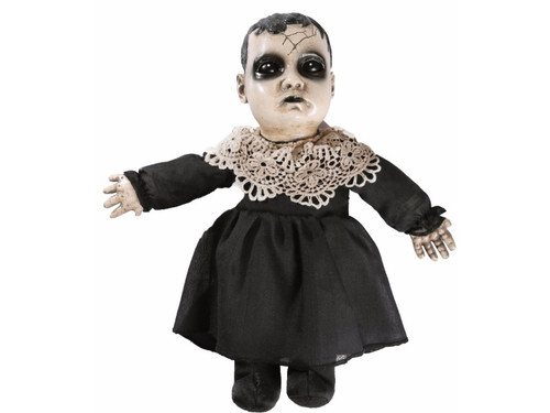 The Little Precious Haunted Doll Animated has seen a lot of horror in her days. Unfortunately, she's been the cause of more than her fair share. Give her a new home...if you dare! Features sound-activated or push-activated sounds, rigid PVC head & hands with a stuffed body & feet. Says three 5 second sound files with each activation ( (Giggle) You disgust me. , You can pretend that I don't exist, but I WILL persuade you otherwise. , The last person who held me died a HORRIBLE death. (Giggle). ) Uses 2 AA batteries, included.