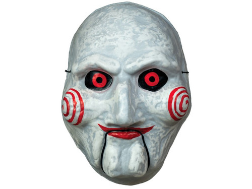 Trick or Treat Studios and Lionsgate are proud to present the Officially Licensed Billy Puppet Vacuform Mask! The mask is made from Vacuform, which is a hallow plastic connected with an elastic band, a true throwback to Halloween Masks of the 1960's. So get yourself our Officially licensed SAW Billy Puppet Vacuform Mask and a suit and ask Trick or Treaters if they want to play a game on Halloween Night!  © 2014 Lions Gate Entertainment. All right reserved.