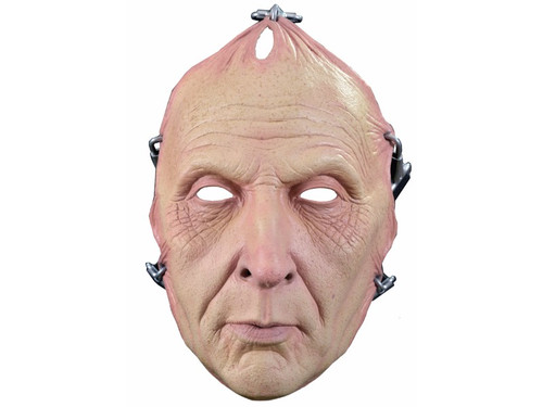 Jigsaw Flesh Saw Mask. Look just like your favorite character from the classic horror movie Saw. Latex face mask with black strap and metal hook attachment for holding on to the head. One size fits most adults.