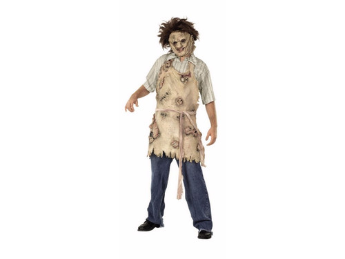 Leatherface Latex Apron made to look like skinned flesh, sewn together with miscellaneous body parts attached. One size fits most adults.