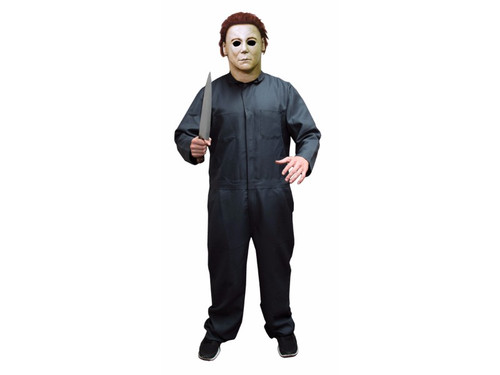 Official Halloween II licensed coveralls for your Halloween II costume! Zip-front spruce green coveralls are just like the movie version. Every detail has been carefully reproduced here: front pockets with a slit to reach your inside pants pocket, back patch pockets, as well as 2 chest patch pockets, snap closures at wrist and neck, and right side leg tool pockets. Machine wash cold, tumble dry low. No iron, no bleach. One size fits up to a men's 48. Chest 48 in, waist 44 in, inseam is 30 in. Mask and knife are not included.