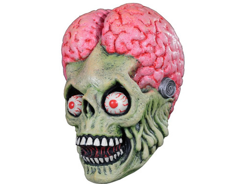 A great mask featuring the protagonist from the cult world of Mars Attacks! 100% latex. Individually hand painted for the best possible look. Full, over-the-head latex mask. One size fits most adults.