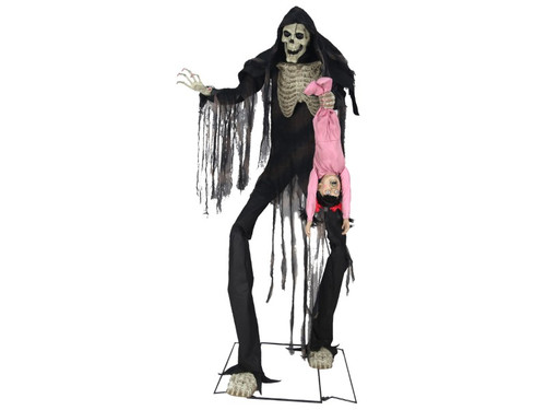 New 2017 - 7 Ft Kidnapping Zombie Reaper Skeleton Man. This animated Halloween prop is an intimidating 7 feet tall and features a skeleton wearing a tattered black outfit with long shredded-gauze accents. Children beware; this Zombie Reaper Skeleton Man is holding one child he already caught! Child has pigtails and is wearing a pink onesie and screams and flails about. This scary decoration is easy to assemble with quick-connect poles and includes volume control. UL power adapter plugs into any outlet. Assembly required. Action and sound effects: eyes light up head and torso turns from side-to-side.  He has a disturbing laugh as the child screams and flails about. Activation options: Steady-on Infra-red sensor (works up to 6.5' feet away & works in all lighting conditions) Step-Here/Floor Activation Pad (included)!