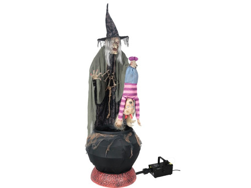 "New 2017 - Animated Brewing Witch Cauldron W/ Child. Give your guests a hair-raising experience by adding this animated witch with fog machine to your Halloween decorations! This menacing enchantress stands before her bubbling, black cauldron with flickering ""smoldering coals"" while holding a small blond-haired child by the feet. The witch is dressed in a mottled-brown and black dress with rope belt, a shredded-gauze shawl, a creepy bone necklace and a matching pointed hat. Includes a 400W Fog Machine and hose attachment for added ambiance!  After filling up the fog machine with your fog liquid (not included), simply connect the fog machine to the witch's function control box and plug the fog machine into any standard outlet. Once activated, the fog will begin to swirl in her green bubbling cauldron.  Animation: Eyes light up, head and torso turns from side-to-side, mouth moves, child screams and flails about all while the fog swirls about in the green bubbling cauldron.  Prop will say one of three sayings with each activation: ""(evil laughter)"": ""Eh heh heh heh you will make a tasty meal - my favorite is the flesh from a black cat, but you will do nicely! Eh heheheheh!"": ""See what happens when you cross my path? Let this be a lesson to you - and a meal for me! Eh heheheh!"")  Activation options: Steady-on, Infra-red sensor (works up to 6.5' feet away & works in all lighting conditions), Step-Here/Floor Activation Pad (included). Power: UL power adapter that plugs into any standard outlet. Materials: Iron, PVC, polyester and cotton. Assembly required. Fog liquid not included."