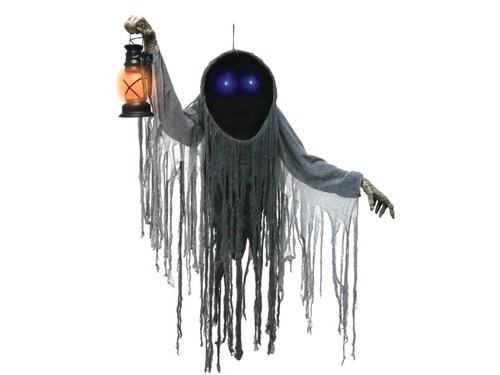 "New 2017 - Hanging Haunted Reaper W/ Lantern. Your eternity is clear and it doesn't look pleasant with the Hanging Haunted Reaper W/ Lantern around! This grim specter has two piercing blue LED eyes that shine out from within the black void of its wide hood. He is cloaked in a dark shredded gauze costume with wrapped ghoulish hands, holding a flickering lantern to guide you to the afterlife. This prop features a sturdy metal frame that is easy to assemble. Instructions are included.  Prop will say one of three sayings with each activation: ""At last you are here. Come closer, I will escort you into the shadows of the night."": ""Your time on this earth has come to an end. I have come for your soul. Whether you sing with the choir invisible or wail with the demons of the underworld I care not. Your soul is mine! ""Come this way, don't resist. Submit yourself to my embrace of death. At least then your suffering will not be as great.""  Activation options: Steady-on, Infra-red sensor (works up to 6.5' feet away & works in all lighting conditions), and Step-Here/Floor Activation Pad (included). Power: Requires 3 AA Batteries to operate (not included). Includes hanging loop. Assembly required."