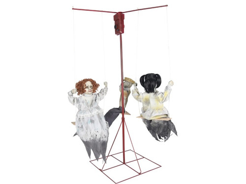 New 2017 - Merry Go Round Haunted Dolls Animated Prop. What is more chilling than three forgotten dolls from yesteryear slowly riding a merry-go-round for an eternity? This eerie prop is the perfect way to turn your home into a haunted mansion or haunted playroom. Creepy music plays at the merry-go-round goes round and round. Prop includes red iron frame merry-go-round with three swings and three dolls dressed in distressed Victorian era clothing with cracked faces.  Animations/sound effects: Eerie music with volume control, Merry-go-round spins around. Activation options: Steady-on, Infra-red sensor (works up to 6.5' feet away & works in all lighting conditions), Step-Here/Floor Activated Pad (included). Power: UL power adapter that plugs into any standard outlet. Materials: Iron, PVC, polyester and cotton. Assembly required.
