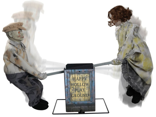 New 2017 - Teeter Totter Haunted Dolls Animated. Forgotten and forsaken, these creepy dolls are left to teeter totter alone for all time. This haunting prop features two Victorian dolls with hollowed-out eyes slowly riding on a teeter totter while a chilling tune plays! Prop is easy to assemble and will add an unnerving effect to your Halloween decor.  Animations/sound effects: Eerie music with volume control, teeter totter goes up and down. Activation options: Steady-on, Infra-red sensor (works up to 6.5' feet away & works in all lighting conditions), Step-Here/Floor Activation Pad (included). Power: UL power adapter that plugs into any standard outlet. Materials: Polyester, PVC, sponge, plastic, electronics. Assembly required.