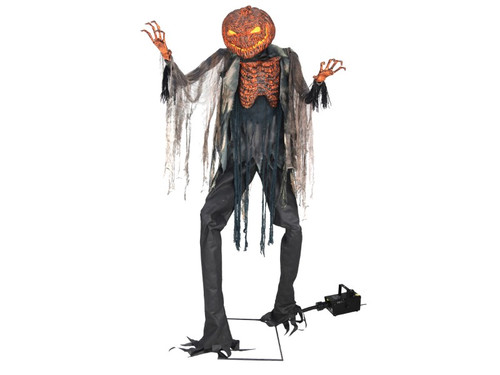 "New 2017 - 7 Ft Scary Pumpkin Scarecrow Animated prop. This terrifying scarecrow prop stands at an amazing 7' tall at the top of his gnarled stem and features a flickering-light-up Jack O' Lantern head and chest. He is dressed in a burnt-looking fabric costume and has two creepy elongated hands to complete the look. This scary decoration is easy to assemble with quick-connect poles and includes volume control.  Includes 400W Fog Machine and hose attachment for added ambiance! After filling up the fog machine with your fog liquid (not included), simply connect the fog machine to the scarecrow's function control box and plug the fog machine into any standard outlet.  Animation: Head and chest flicker like they are burning from within, Head and torso turn from side-to-side, Prop will say one of three sayings with each activation: :""Brittle and withering on a blackened husk, but still ready to harvest. I'm looking for some ripe souls to roast over my embers until ready to eat - ahahahah delicious!"" :""The lands have been burned to a smoldering ruin; this earth is good for nothing and no one. Come out of hiding, you have nothing left to live for!"" :""Bones crackle and crumble like burnt matchsticks, feeding the fires that keep me standing before you. Who's next for the pyre? Ahhahahahah!"" Activation options: Steady-on, Infra-red sensor (works up to 6.5' feet away & works in all lighting conditions), Step-Here/Floor Activation Pad (included), Power: UL power adapter that plugs into any standard outlet.  Materials: Iron, PVC, polyester and cotton. Assembly required. Fog liquid not included."
