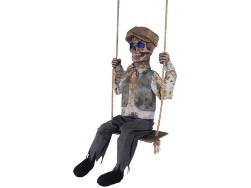 "New 2017 - Skeleton Swinging Boy Animated. Everyone will be afraid to come up to your house with the Skeleton Swinging Boy Animated prop! This creepy prop features a Victorian-era skeletal boy with hollowed out eyes that glow an other-worldly blue, and speaks haunting phrases to all passersby as his head turns side-to-side while he swings back and forth on his swing.  Animation: Eyes glow blue, Head turns side-to-side, Swings back and forth on swing. Phrases prop says: ""Hello. Do you want to play? I've been swinging here, waiting for you, for years and years. You have such nice skin...can I have it? (giggle) That's okay, I'll come get it when you're sleeping. I'll make you one of us, then you can swing forever too (giggle)!"", ""One, two, I'm a comin' for you, Three, four, breaking down your door, Five, six, beware of my tricks, Seven, eight, you will not escape, Nine, ten, this will never end! (Giggle)"".  Activation options: Steady-on, Infra-red sensor (works up to 6.5' feet away & works in all lighting conditions), Step-Here/Floor Activated Pad (included). Power: UL power adapter that plugs into any standard outlet. Materials: Polyester, PVC, sponge, plastic, hemp rope, electronics. Assembly required."
