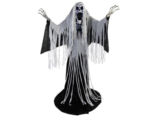 New 2017 - Screaming Skeleton Reaper Animated Halloween Prop. Go big this Halloween and decorate your haunted house with this gigantic prop! This 6 ft. 4 in. Screaming Skeleton Reaper Animated Halloween Prop is cloaked in shredded fabric and features a light-up face and chest, moving arms and turning torso, and a wailing shriek that is sure to chill even the heartiest of souls. Transform your Halloween decorations from just scary into a nightmarish experience with this terrifying entity.  Animations/sound effects: Face and chest light up, Arms move and torso turns, Wailing shriek with volume control.  Activation options: Steady-on, Infra-red sensor (works up to 6.5' feet away & works in all lighting conditions), Step-Here/Floor Activation Pad (included). Power: UL power adapter that plugs into any standard outlet.  Materials: Iron, PVC, polyester and cotton. Assembly required.