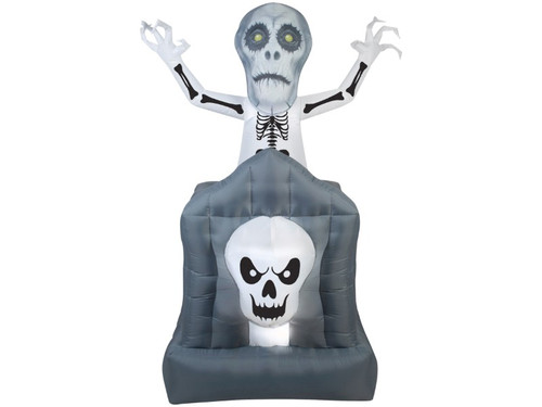 New 2017 - Inflatable Skeleton Tombstone Yard Prop. This chilling inflatable is the perfect addition to your home haunt and sure to run chills up those trick-or-treaters spines and elicit blood-curdling screams! Modeled after a tomb with a skeletons head, behind is yet another skeleton seen from the torso up, arms perched as if to say that you may be the next occupant of the tomb if the skleleton can grab you! Measures 72 inches by 36 inches by 35 inches. No batteries needed, fully electrical.