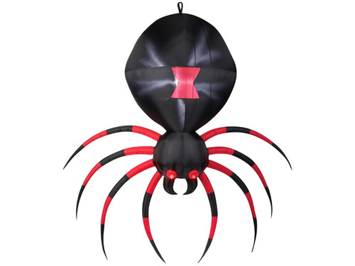 New 2017 - Inflatable Gigantic Black Widow Spider Yard Prop. This noticeable halloween yard prop will get the stares and fearful faces of your neighbors and friends! The Inflatable Gigantic Black Widow Spider comes with red eyes, alternating black and red coloring on the spider's legs, red marking on spider's back and legs outstretched to make it seem as if she's reaching for you.  Batteries not required, item uses electricity exclusively.  Item measures 83 inches by 82 inches by 25 inches.