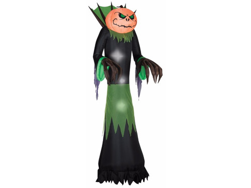 New 2017 - This Giant Inflatable Pumpkin Reaper Yard Prop stands 10 feet tall! Self-inflates in seconds. Lights up. Stakes and tethers included. UL Listed.