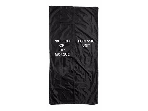 """Body Bag. A perfect accessory for your haunted house or home haunt. Put an actor or a full body prop inside the body bag and let the fright ensue! 6 foot long, 2 feet wide. Black full length zippered body bag that has """"Property of City Morgue, Forensic Unit"""" printed on front. Recommended for ages 14+."""