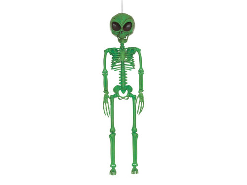 "New 2017 - Alien Skeleton Green Prop. Just over 3 ft tall, add this green skeleton alien to your haunted scene. Plastic skull, 37"" Tall."