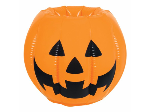 Inflatable Pumpkin Jack O' Lantern Cooler. A great item for your Halloween party that your guests will certainly appreciate. Put this wild inflatable jack o' lantern on your buffet table or on the floor and fill with ice and whatever food and beverages need to be kept cool. get more than one, fill them with beverages and scatter them around your house! PVC. 22inW x 15 1/2inH. Needs to be inflated. Holds apprx 48 12-Oz cans.