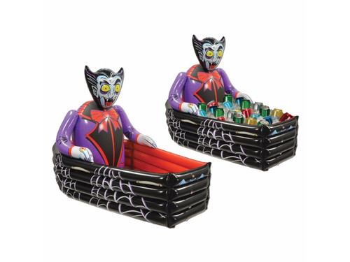 Inflatable Vampire Coffin Cooler. A great item for your Halloween party that your guests will certainly appreciate. Put this inflatable vampire's coffin on your buffet table or, better yet, on the floor and fill with ice and whatever food and beverages need to be kept cool. Get more than one, fill them with beverages and scatter them around your house! PVC. 3ft 6inW x 30inH. Needs to be inflated. Holds apprx 48 12-Oz cans.