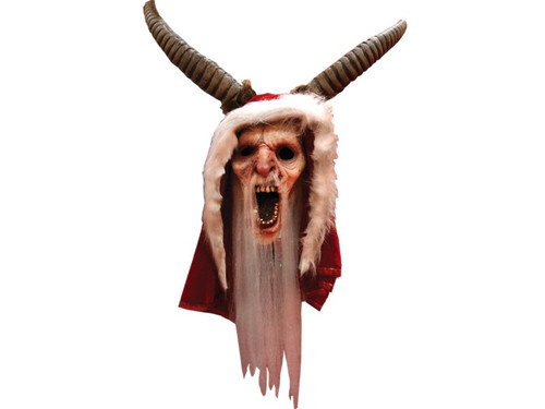 The Krampus Mask. You make your victims fears come to life when you use this mask to become the title character from the horror movie hit Krampus! 100% latex, individually hand-painted for the best look, full over-the-head mask, beard attached. One size fits most adults.