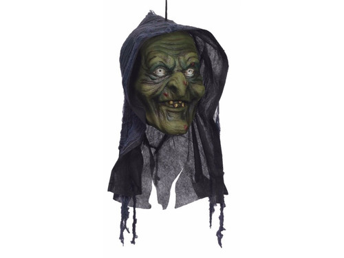 This Green Witch Hanging Form head is perfect for your haunted house or home haunt.  This amazingly detailed polyfoam witch head will scare the yell out of your victims! 12 x 6 x 5 inches.