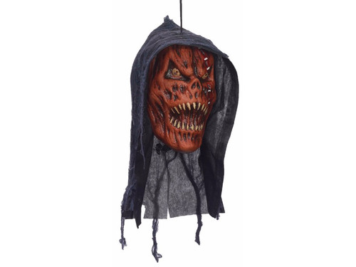 This Evil Pumpkin Hanging Head is perfect for your haunted house or home haunt.  This amazingly detailed polyfoam Evil Pumpkin Hanging Head will scare the yell out of your victims! 12 x 6 x 5 inches.
