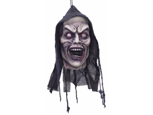 This Screaming Zombie Hanging Foam Head is perfect for your haunted house or home haunt. This amazingly sculpted, impeccably detailed polyfoam head will scare the yell out of your victims! Screamer. 12x6x5 inches.
