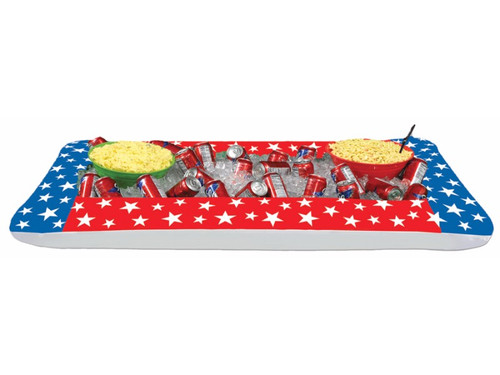 Keep your food and beverages nice and cold with our Inflatable Patriotic Buffet Cooler! This festive Red, Blue, with White Stars inflatable buffet cooler stretches 28in.W x 4ft. 5+in.L. PVC. Needs Inflated. Just the decoration you need for July 4th, New Years, other fun productions and festivities, or just because!