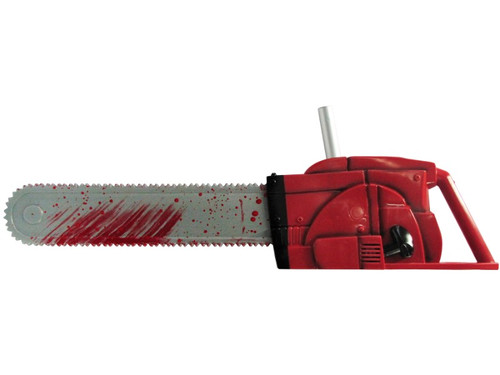 New.  Scare all of who come in contact with you as you carry around this prop.  Great for your costume accessory or to simply have on display.  A Leatherface costume from Texas Chainsaw Massacre is perfect. Deluxe molded 27-inch chainsaw.