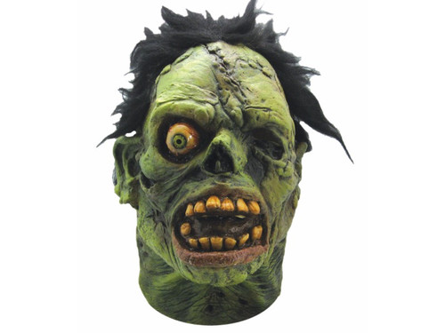 New.  Graveyard Zombie Monster Latex Mask. Complete with graveyard green flesh, twisted teeth, black scraggily hair and of course a staring eye, this mask is a must have for any monster fan. Latex.