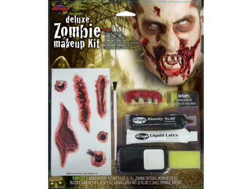 New.  Deluxe Zombie Monster Makeup Kit. Zombie teeth with dental adhesive, 2 color makeup tray, tattoo sheet, bloody scab, liquid latex, sponge, and brush. All you need to create a great Zombie!