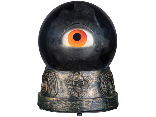 New.  Animated Crystal Eyeball Gypsy Fortune Teller prop is here is looking at you! This crystal ball is on a pedestal with an eyeball inside.  It blinks and looks from side to side. Try me and motion detector included. Requires 3-AAA batteries. Measures 6 inches x 5 inches x 5 inches.