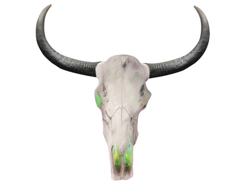 New 2017.  Texas Longhorn Cattle Skeleton Skull Head.  This Longhorn animal skull with LED inside light up feature measures 18 inches x 32 inches x 6 inches. Requires 3-AAA batteries.